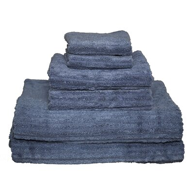 Ribbed 6 Piece Towel Set Color: Egyptian Blue