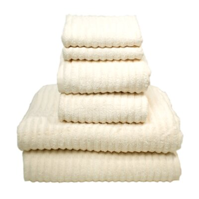 Ribbed 6 Piece Towel Set Color: Ivory