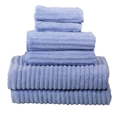 Ribbed 6 Piece Towel Set Color: Periwinkle