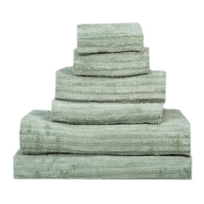 Ribbed 6 Piece Towel Set Color: Sage