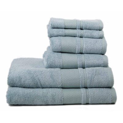 Plain 6 Piece Towel Set Color: Aqua