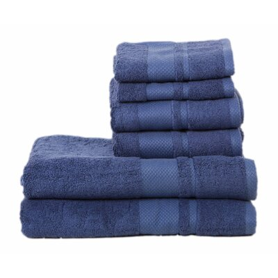 Plain 6 Piece Towel Set Color: Egyptian Blue