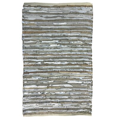 Leather Striped Gray Area Rug Rug Size: 5 x 8