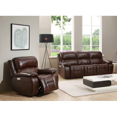 HYDELINEBYAMAX WestminsterII-SC Westminster II Leather Sofa and Recliner Set