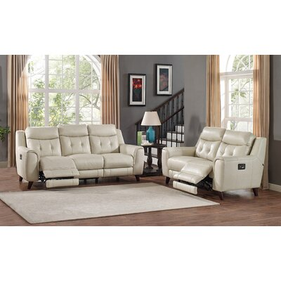 Paramount Leather Sofa and Loveseat Set