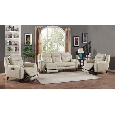 Paramount Leather 3 Piece Living Room Set