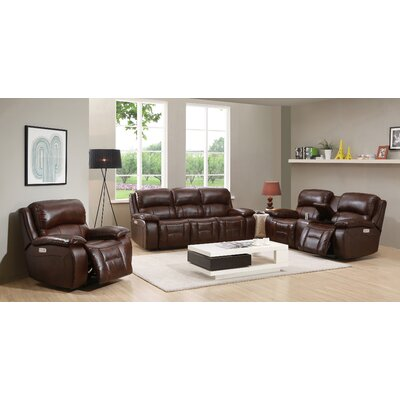 HYDELINEBYAMAX WestminsterII-SLC Westminster II Leather Sofa, Loveseat and Recliner Set