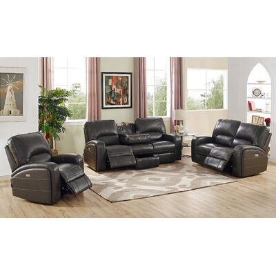 Woodhull Leather 3 Piece Living Room Set