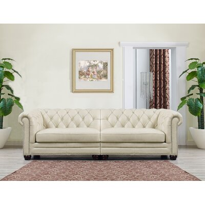 Jonah Cream Leather Chesterfield Sofa