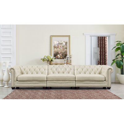 Lizete Leather Chesterfield Sofa