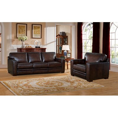 Mcdonald Leather 2 Piece Living Room Set