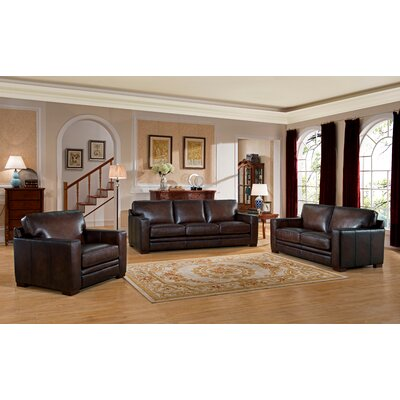 Ballaghmore Wood Leather Living Room Set
