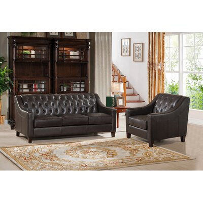 Charley Leather 2 Piece Living Room Set