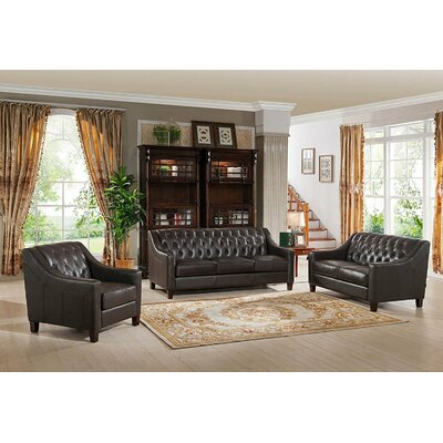 Charley Leather Brown Sofa, Loveseat and Armchair Set