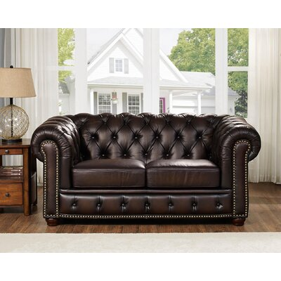 Katharine Top Grain Leather Loveseat