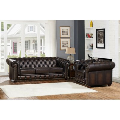 Katharine Leather 2 Piece Living Room Set