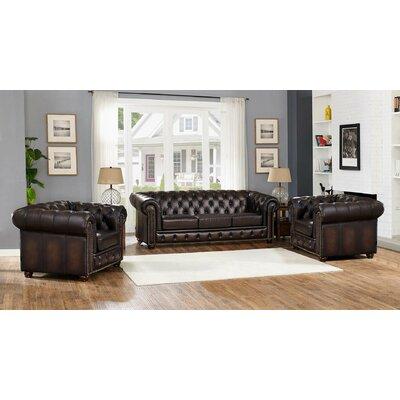 Katharine Leather 3 Piece Living Room Set