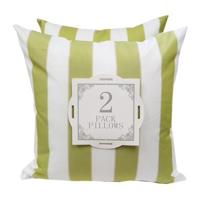 Stripe Outdoor Throw Pillow Color: Lime