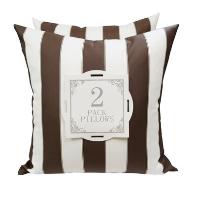 Stripe Outdoor Throw Pillow Color: Brown