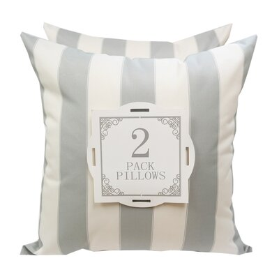 Stripe Outdoor Throw Pillow Color: Gray