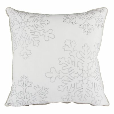 Holiday Snow Flakes Embroidered Velvet Throw Pillow Color: White