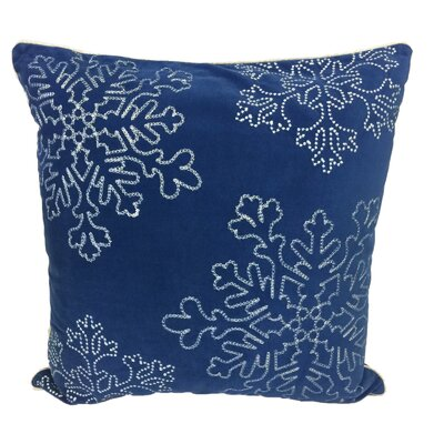 Holiday Snow Flakes Embroidered Velvet Throw Pillow Color: Blue