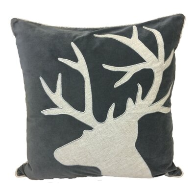 Norco Reindeer Shiny Linen Applique Velvet Throw Pillow