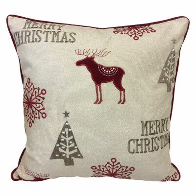 Norco Merry Christmas Poly Linen Embroidered Velvet Throw Pillow