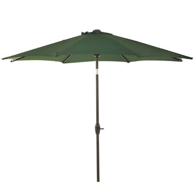 9 Patio Aluminum Market Umbrella with Crank and Tilt Fabric: Dark Green
