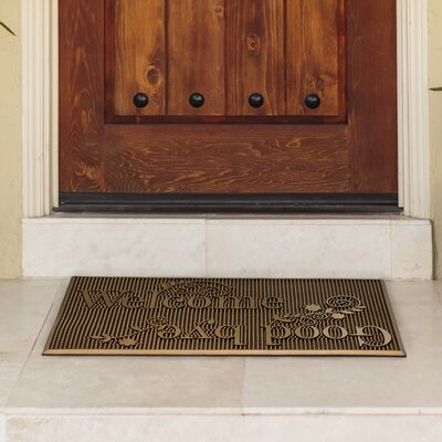 Painted Rubber Indoor/Outdoor Welcome and Goodbye Doormat