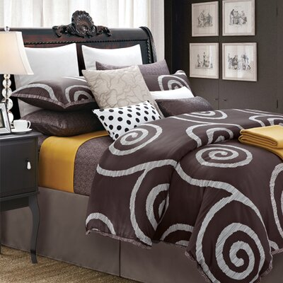 Serenity 7 Piece Duvet Set Size: Queen, Color: Coffee
