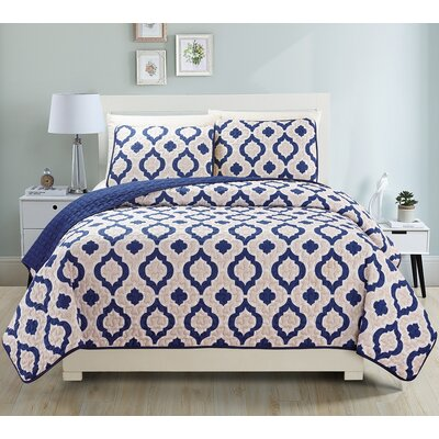 Gabana 3 Piece Quilt Set Size: King, Color: Navy