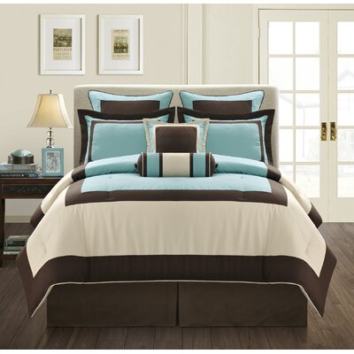 Gramercy 8 Piece Comforter Set Size: King, Color: Blue