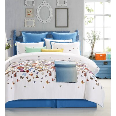 Butterfly 8 Piece Comforter Set Size: Queen