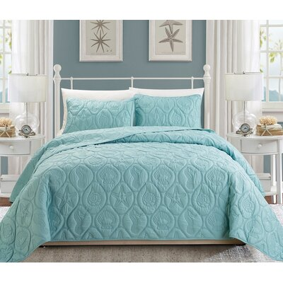 Coral 3 Piece Queen Quilt Set Color: Blue