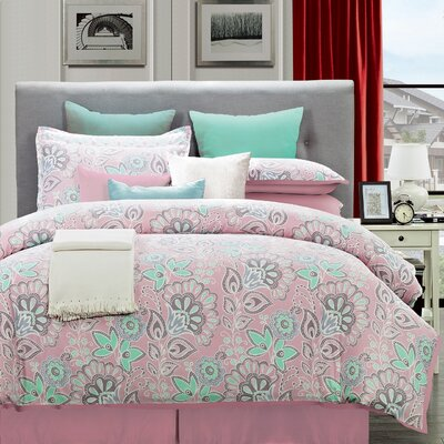 Flower 8 Piece Comforter Set Size: King