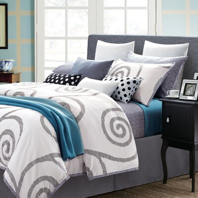 Serenity 7 Piece Duvet Set Color: White, Size: King