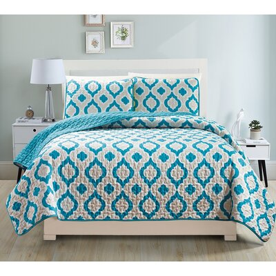 Gabana 3 Piece Quilt Set Color: Teal, Size: Queen
