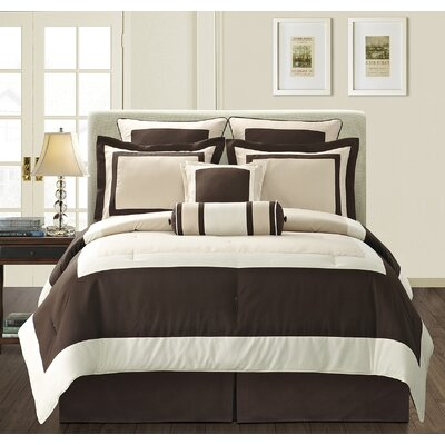 Gramercy 8 Piece Comforter Set Color: Beige, Size: King