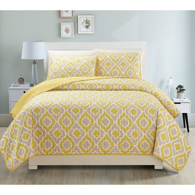 Gabana 3 Piece Quilt Set Size: King, Color: Yellow