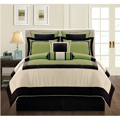 Gramercy 8 Piece Comforter Set Size: Queen, Color: Olive