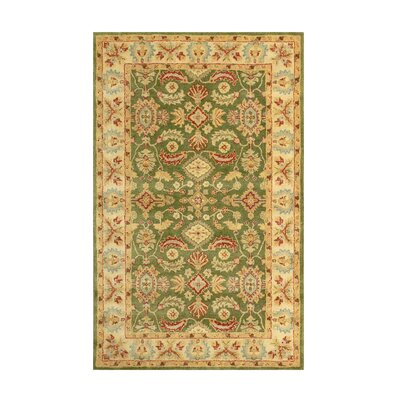 Windsor Green/Tan Area Rug Rug Size: Rectangle 5 x 8