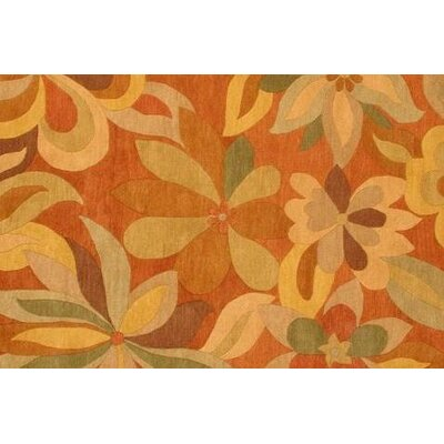 Foliage Hand-Woven/Hand-Tufted Wool Rust Area Rug Rug Size: Square 16