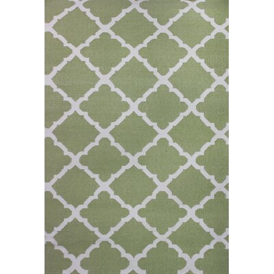 Flat Weave Green Area Rug Rug Size: Rectangle 5 x 8