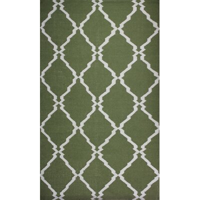 Flat Weave Green Area Rug Rug Size: 8 x 11