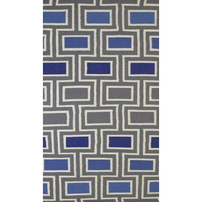 Hand-Knotted Gray Area Rug Rug Size: 5 x 8
