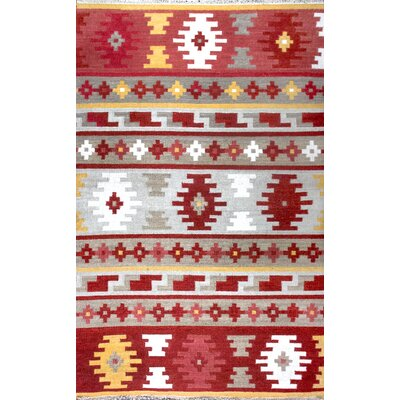 Patridge Hand Woven Wool Red/Orange Area Rug Rug Size: 86 x 116