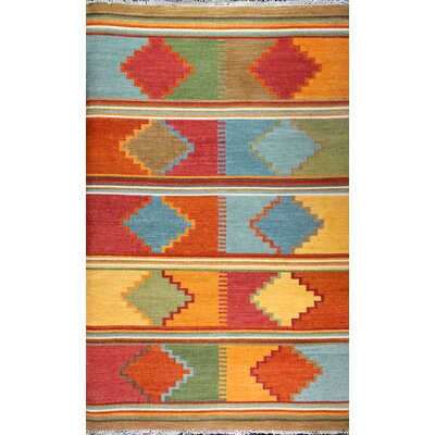 Kilim Multi-colored Rug Rug Size: 86 x 116