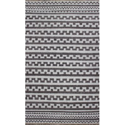 Kilim Hand-Woven Black/Grey Area Rug Rug Size: 5 x 8