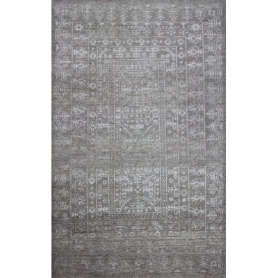 Medallion Hand-Knotted Gray Area Rug Rug Size: 5 x 8